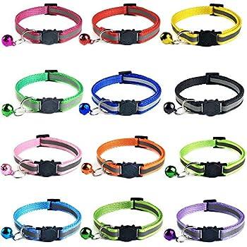 Tafeiya Lot de 12 Colliers réfléchissants réglables pour Chat avec Boucle de sécurité et Sonnette