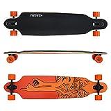 Hengda® Longboard Street Board Cruiserboard Skateboard Komplettboard ABEC 9 Kugellager (Longboard Orange Finger)
