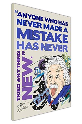 "Leinwandbild, Kunstdruck Albert Einstein Tongue Out Fehler Zitat Pop Art Bilder, canvas holz, violett, 07- 30"" X 20"" (76CM X 50CM)"