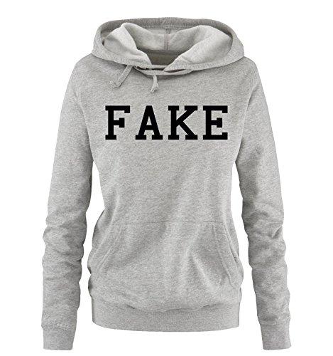 Besten Fake Bart (Comedy Shirts - FAKE - Damen Hoodie - Grau / Schwarz Gr.)