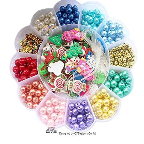 Q7S ® Multicolore Bijoux Studio Perles–Perles de verre Perles rondes Perles pour filles, pour les enfants, pour la confection de bijoux, collier de perles, perles charms–Lot de 500.