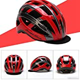 HUOFEIKE Fahrradhelm, Radhelm, Profi-Helm Ventilation, Niedrigwindwiderstand, Adjustable Head Circumference Fahrradhelm (männlich/weiblich) Mountainbike,redblack,54cmto59cm