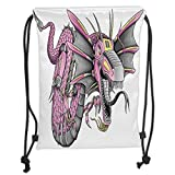 Custom Printed Drawstring Backpacks Bags,Dragon,Digital Robotic Cyborg Dragon Character Figure Modern Game Knight Graphic,Yellow Fuchsia Grey Soft Satin,5 Liter Capacity,Adjustable String Closure