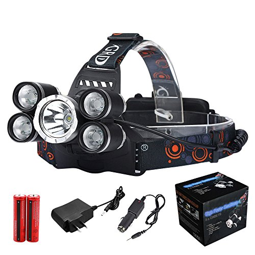 1 x Scheinwerfer 1 X USB-Ladekabel 1 X Kfz-Ladegerät 2 X 18650Hirolan 35000LM 5x CREE XM-L T6 LED Scheinwerfer Scheinwerfer Taschenlampe Kopf Licht Lampe 18650 (Schwarz) Zwei Kopf-notfall-licht