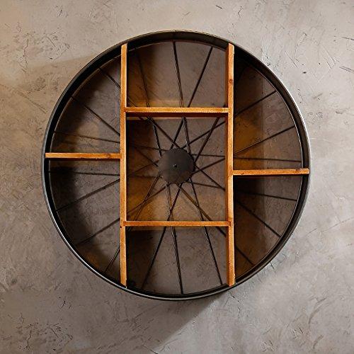 ZHEN GUO Radförmige Floating Shelf Wall Mounted Holz & Metall, schwarz Klammern Vintage Home Dekoration Wandbehang Speicher Display Organizer (größe : Große) -