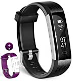 Fitness Tracker, Wesoo K1 Fitness Watch: Aktivitätstracker Smart Armband mit Schlafmonitor, Smart Armband Schrittzähler Armband mit Ersatzband für iOS & Android (Schwarzes + Lilanes Band)