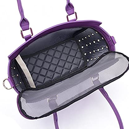YiHao Dog Carriers Airline Approve Portable Convenient Lightweight Outdoor Travel Pet Carrier Handbag 8009 (Purple) 6