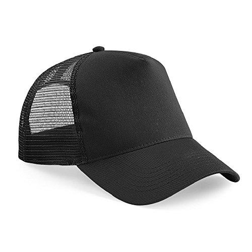 Chemagliette! cappellino uomo beechfield snapback trucker regolabile con visiera a contrasto, colore: nero, taglia unica