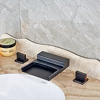 Tougmoo bagno olio strofinato bronzo rubinetto miscelatore in vetro beccuccio cascata rubinetti quadrato nero con rubinetto dell' acqua JP5028 C