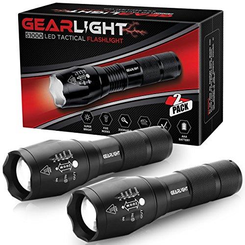 Gearlight LED Lampe torche tactique S1000 [Lot de 2] – Haute Lumen, zoom, 5 modes, résistant à l'eau, lampe de poche – Meilleur Camping, extérieur, tous les jours, de secours Flashlights