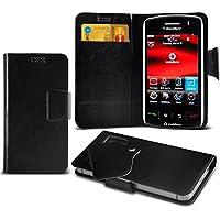 (Black) Blackberry Storm 9500 Mega sottile Protezione in ecopelle ventosa Custodia a portafoglio Pelle Copertura Caso Cover con carta di credito/debito Slot Aventus