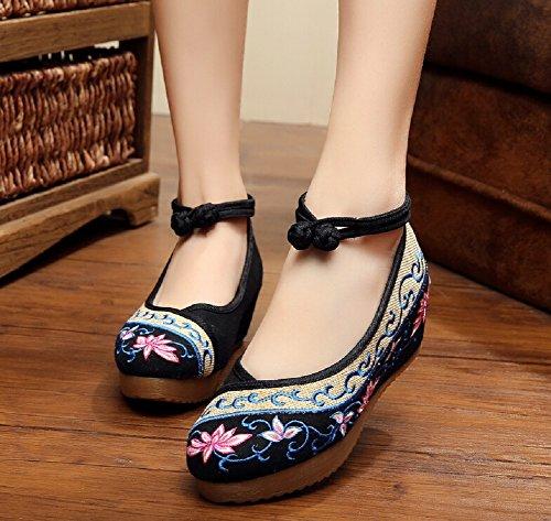 Lazutom Vintage estilo chino bordado de mujer sandalias cómodo Casual zapatos de senderismo, color negro, talla 39 EU