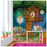 azutura Feenbaum Fototapete Phantasie Tapete Mädchen Kinderzimmer Wohnkultur Erhältlich in 8 Größen Extraklein Digital