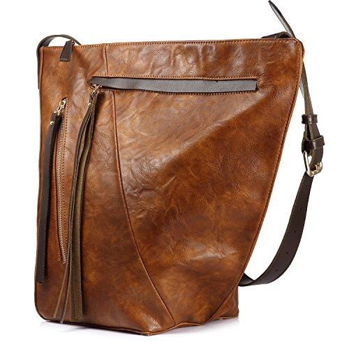 Eimer tasche für frauen handtasche crossbody tasche reisetasche multi pocket mit großer kapazität mit langen tassel Braun