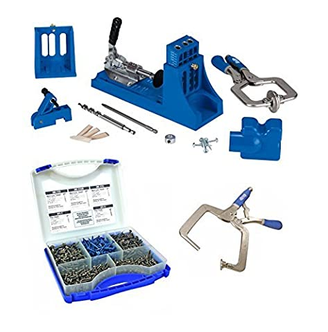 Kreg Jig Master System + Pocket-Hole Screw Kit in 5 Sizes + Right Angle Clamp by Kreg