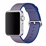 #9: J Replacement Woven Nylon Watch Strap For Apple Watch iWatch Series 1, Series 2 , Series 3 42MM Blue Plus Screen Guard (Watch Not Included)