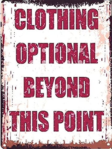 8x10in CLOTHING OPTIONAL BEYOND THIS POINT FUNNY METAL SIGN RETRO VINTAGE STYLE 8x10in 20x25cm HOT TUB JACUZZI WHIRLPOOL swimming POOL BATH by TRACY'S SIGNS