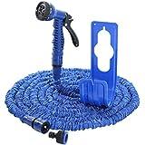 Tuyau d'arrosage Bleu avec support pour tuyau flexible MAGIC HOSE Tuyau Magique extensible 30m
