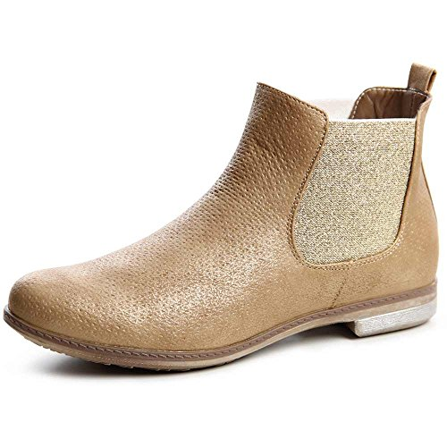 topschuhe24704Boots Bottines pour femme Chelsea Boots Or - Doré