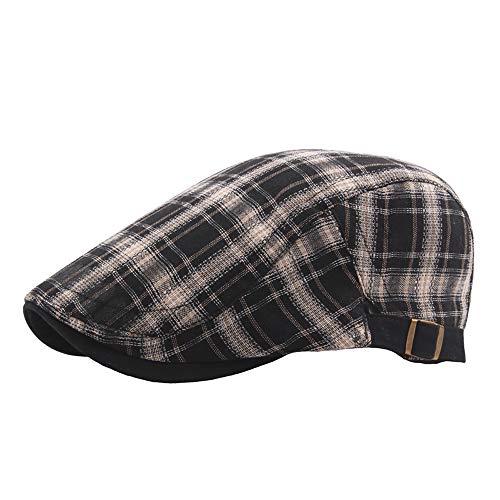 8efc3c77a Rolcheleego - Sombrero de Boinas Unisex Adulto de Lino para Verano Sombrero  Plano del Sol Ajustable Gorra Visera Newsboy Hat Flat Cap Simple - Negro