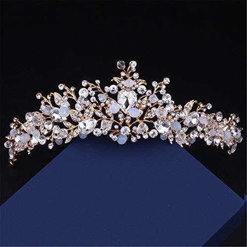 ZZHG Jeweled Barock Vintage Retro Queen Crown - Strass Hochzeit Kronen und Diademe für Frauen, Kostüm Party Haarschmuck mit - Kostüm Diademe