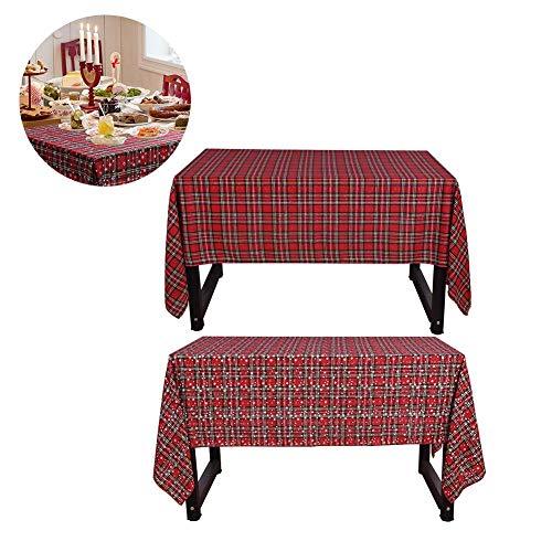 (Bouder Tischdecke, doppelseitig, rechteckig, Motiv: Schneeflocke und Karo, doppelseitiges Design, Dekoration für Zuhause, Küche, Weihnachten, Party, Familienessen, Tischdekoration)