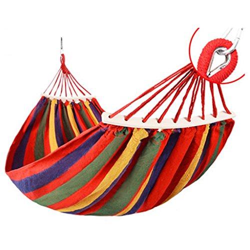 Toile extérieure hamac camping préventif roll-over chaise en bois balançoire 200 * 150 cm (Color : Red)