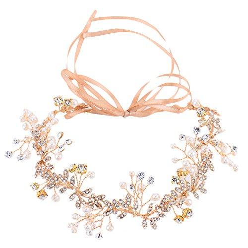 Oshide Vintage Braut Haarschmuck Golden Kopfschmuck Mit Perlen und Strass