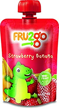FRU2go Strawberry Banana Fruit Snacks, 90g (Pack of 12)