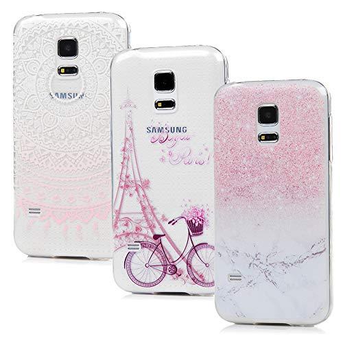 S5 Mini Handyhülle Vogu'SaNa Handytasche Kompatible mit Samsung Galaxy S5 Mini Hülle Case Cover Transparent Silikon Tasche Schutzhülle Skin Softcase Dünn Schale Bumper*3 Silikonhüllen Mädchen-S4 -