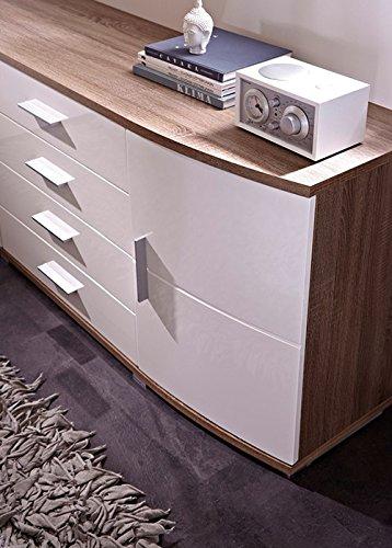 Sideboard in Sonoma Eiche-dunkel-Nachbildung, Fronten in weiß Hochglanz, 4 Schubkästen und 2 Türen, Maße: B/H/T ca. 160/70/44 cm - 2
