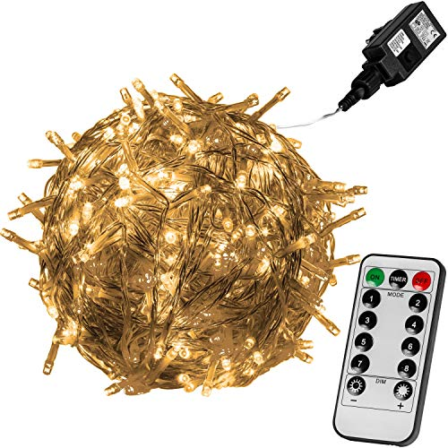 VOLTRONIC LED Lichterkette für innen und außen, Größenwahl: 50 100 200 400 600 LEDs, Farbwahl: warmweiß/kaltweiß / bunt, GS geprüft, IP44, optional mit 8 Leuchtmodi/Fernbedienung / Timer