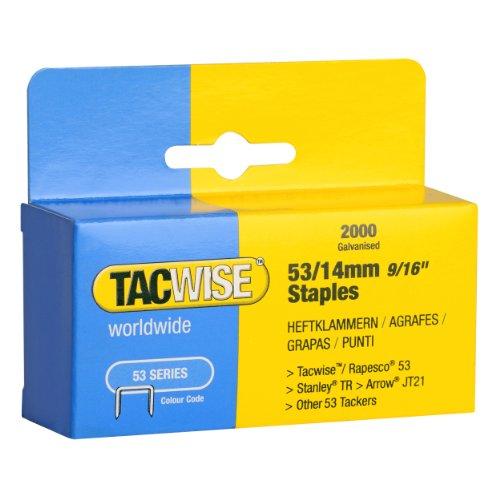 Tacwise Agrafes de Type 53 / 14 mm Galvanisées (Boîte de 2 000)