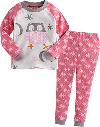 Vaenait Baby Säugling Kinder Langarm zweiteilige Schlafanzüge Set Snow Owl Pink S