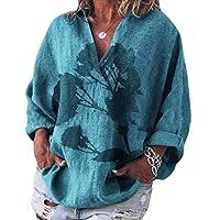 GAGA Women's V Neck 3/4 Sleeve Casual Cotton Linen Blouses Top T-Shirt 4 XXS