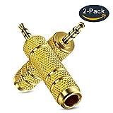 3.5mm Klinkenstecker auf 6.35mm Klinken Buchse aux Audio Adapter mit Vergoldete Kontakte für Kopfhörer oder Lautsprecher Zwei Stücks Vergoldete Kontakte(2 Pack)