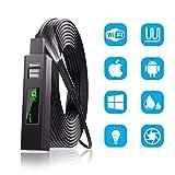 GMAJ Cámara de inspección de endoscopios WiFi 1200P con luz - Alcance del Motor del mecánico de Fibra óptica USB - Teléfono Celular Flexible Flexible inalámbrico Drenaje endoscópico (1M)