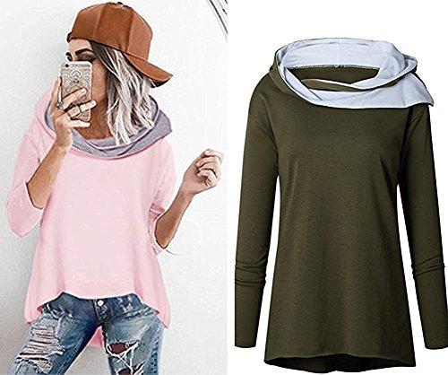 AureQet Damen Mode Kapuzenpullover Rosa Hoodie Hoher Kragen Langarm Sweatshirt Herbst und Winter Strickpulli Pullover Grün