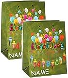 Unbekannt 1 Stück _ Geschenkbeutel / Geschenktasche -  Einschulung  - incl. Name _ MITTEL - 23 cm ! _ zum Schulanfang - Geschenktüte / Geschenkverpackung - Verpackung..