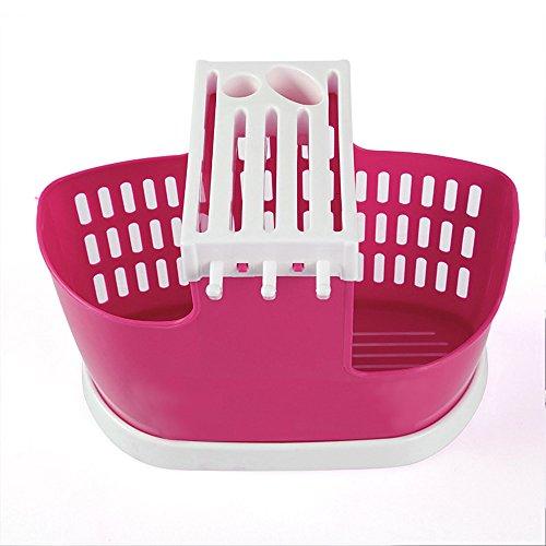 Merssavo Plastic Kitchen Strainer Chopsticks Spoon Fork Storage Box Rack Cutlery Holder (Red)