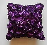 Edeal-yn  haute qualité Fleur Rose satiné Lit canapé Housse de coussin Home Decor Canapé Taie d'oreiller décoratifs (Violet)