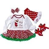 Baby Weihnachtsstrümpfe Hauchrock prinzessinkleid mit vier Stücken YunYoud spitzenkleider cordkleid blumenkleid kinderkleidchen einschulungskleid blumenkleider wollkleider