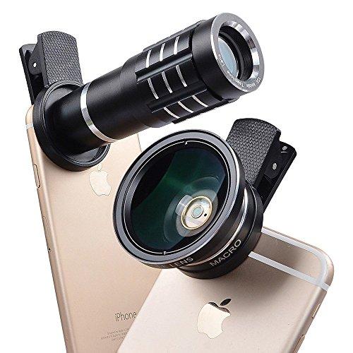 Elecguru HD Clip-On kit de lentille de l'appareil photo, Universal 12x Zoom Téléobjectif + 12.5x Super lentille macro + 0,45x Objectif grand angle pour iPhone 7/6S/6Plus/5/4, Samsung, HTC et autres smartphones