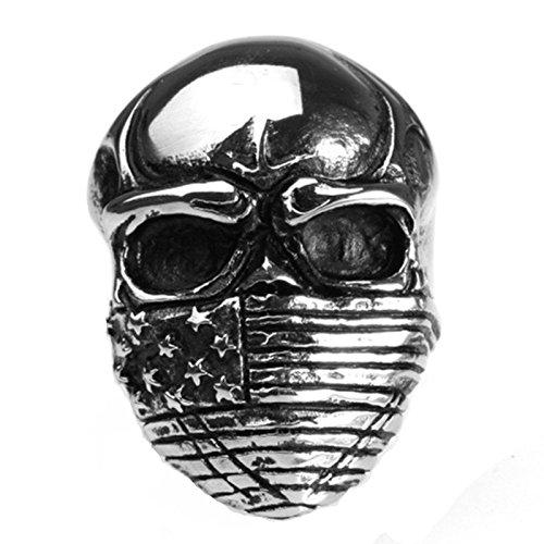 Blisfille Silber Ringe Vintage Edelstahlring Für Herren Bar Gothic Schädel Toten Kopf Mit Masken Amerikanische Flagge Ringgröße 54 (17.2) Gothic Retro Vintage Ring Schwarz Silber