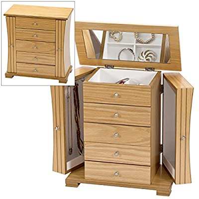 Large Light Oak Wood Finish Wardrobe Style Jewellery Box by Mele & Co. produced by Mele & Co. - quick delivery from UK.