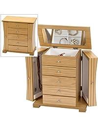 Large Light Oak Wood Finish Wardrobe Style Jewellery Box by Mele & Co.