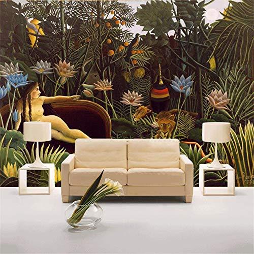 Französisch Post Impressionist Malerei Thema Wandbilder Dschungel Rousseau Renaissance Hintergrundbild Wandbild, 400cmX280cm -