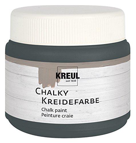 Glas-stuhl-matte (Kreul 75322 - Chalky Kreidefarbe, sanft - matte Farbe, cremig deckend, schnelltrocknend, für Effekte im Used Look, 150 ml Kunststoffdose, Volcanic Gray)