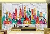 HONGYUANZHANG Bunter Stadtentwurf Tapete Des Foto-3D Künstlerische Landschafts-Fernsehhintergrund-Tapete,56Inch (H) X 88Inch (W)