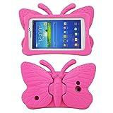 Galaxy Tab 4niños caso, Tab 3Lite Caso, tading no tóxico niños peso ligero a prueba de golpes de espuma EVA Kid-Proof funda con función atril para Samsung tabletas de 7, diseño de mariposas rosa rosa (b) Tab 3/Lite Tab 4 7' T110/T210/P3200/T230